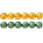 Pärl-pärlis ümarad lainelised soontega klaasjad akrüülhelmed 10mm