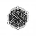 Lillekujuline, ornamendimustriga, nelja aasaga riputis, Metal Charm, 40 x 2mm