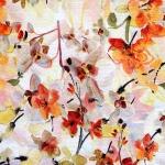 Orhideedega, kergelt reljeerse mustriga ja õrnalt veniv kostüümikangas, 136cm, 094-271-7484