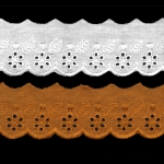 Broderiipits õite ja lehtedega laius 50mm Nr.1 /Cotton Lace/Broderie Anglaise