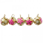 Cloisonne helmed e. emailvärviga kaetud kuljushelmed lillemustriga 14mm