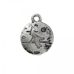 Metal Circular Charm with Witch Design / 15mm