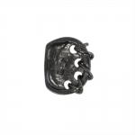Krobelise pinnaga, põimitud mustriga, kandiline, kannaga metallnööp, 19x15mm; 30L