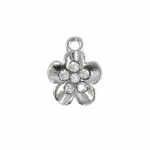 Lillekujuline, klaaskristallidega, ülalt aasaga, metallist ripats, 11x2mm
