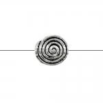 Teokarbi kujuline, ümar, lapik, reljeefse mustriga, pikuti läbistatud metallhelmes, 10x5mm