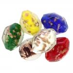 Värvilised käsitöö klaashelmed, vaskse pintslimustriga, suuruses ca, 32x24x18mm