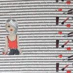 Meigitarvikutega, tüdrukuga veniv puuvillasegu kangas 11636, 65x150cm kupong , Stenzo textiles