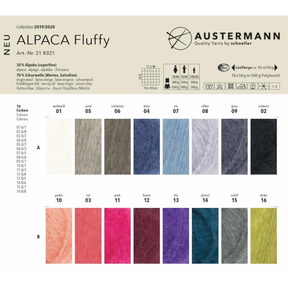 Alpakavilla sisaldav lõng Alpaca Fluffy, Austermann