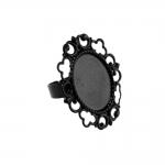 Ovaalse pitsilise plaadiga reguleeritav sõrmusetoorik / 19 x 15mm