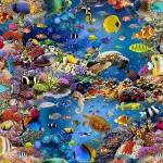 Tugevam prinditud korallrahu mustriga puuvillane kangas Art. BB91123-01