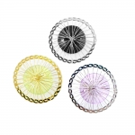 Metallist põimingdetail seest värvilise plastikosaga, Circular Wire Charm with Plastic Adornment, 40mm