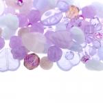 Pärlisegu helelillakatest erikujulistest pärlitest 6-16mm, 100/50g pakk