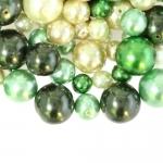 Pärlisegu Helerohelistes pärlmutter ümaratest pärlitest 4-12mm, 100/50g pakk