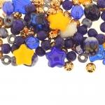 Pärlisegu sinistes, kollastes, vasksetes toonides, pärlitest 5-12mm, 100/50g pakk