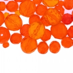 Pärlisegu oranžikaspunastest ümaratest pärlitest 6-14mm, 100/50g pakk