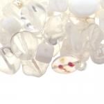 Pärlisegu Valgetes toonides eri suurusega pärlitest 5-20mm, 100/50g pakk