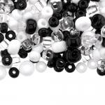 Pärlisegu Must-valge-läbipaistvatest pärlitest 5-8mm, 100/50g pakk