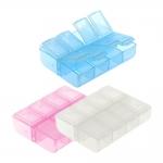 Väike plastmassist (PP) läbikumav säilituskarp, pärlikarp, tabletikarp, 7,5 x 6 x 2 cm
