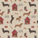 Gobeläänkangas koerte ja kuutide mustriga, BB86017-01