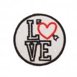 Helkur-aplikatsioon, triigitav; ø6 cm, Love