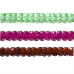 Round faceted glass beads, 6x3mm