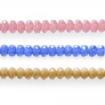 Round faceted glass beads, 7x6mm