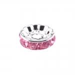 Klaaskristallidega, metallist kettakujuline vahedetail/pärl, 10 x 4mm