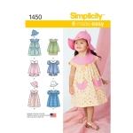 Väikelaste kleit, Topp, püksikud ja müts, suurused: A (1/2-1-2-3-4), Simplicity Pattern #1450