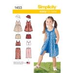 Laste kleit, Topp, püksid või shortsid ja müts, suurused: A (3-4-5-6-7-8), Simplicity Pattern #1453