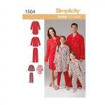 Laste, teismeliste ja täiskasvanute salongiriided, suurused: A (XS - L / XS - XL), Simplicity Pattern #1504