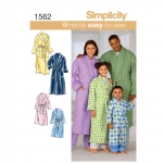 Child`s, Teens` and Adults` Robe and Belt, Sizes: A (XS - L / XS - XL), Simplicity Pattern #1562