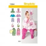 Väikelaste topp, püksid ja tekkmähis, suurused: A (XXS-XS-S-M-L), Simplicity Pattern #1564
