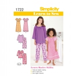 Learn to Sew Child`s and Girl`s Loungewear, Simplicity Pattern #1722