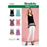 Naiste Seda-on-kerge-õmmelda: trikoo-topid, suurused: A (XXS-XS-S-M-L-XL-XXL), Simplicity Pattern #1113