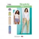 Naiste kummiga püksid pikad või lühikeses shortsidid, püksid, Simplicity Pattern #1165