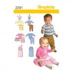 Väikelaste riietus, suurused: A (XXS-XS-S-M-L), Simplicity Pattern #2291