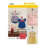 Väikelaste kleit ja püksikud, suurused: A (XXS-XS-S-M-L), Simplicity Pattern #1205