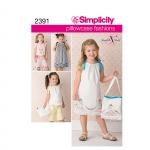 Child`s vintage pillow case fashion, Sizes: A (3-4-5-6-7-8), Simplicity Pattern #2391