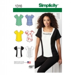 Women`s Top with Neckline Variations, Simplicity Pattern #1316