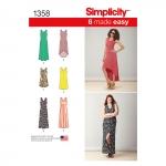 Naiste trikookleidid pikkuse ja seljajoone variatsioonidega, suurused: A (XXS-XS-S-M-L-XL-XXL), Simplicity Pattern #1358