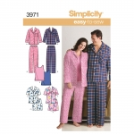 Women`s & Men`s Plus Size Sleepwear, Simplicity Pattern #3971