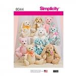 Two-Pattern Piece Stuffed Animals, Sizes: OS (ONE SIZE), Simplicity Pattern #8044