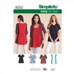 Naiste Seda-on-kerge-õmmelda topid, suurused: A (XXS-XS-S-M-L-XL-XXL), Simplicity Pattern #8052