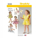 Toddlers` Romper and Button-on skirt, Sizes: A (1/2-1-2-3-4), Simplicity Pattern #8099