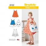 Laste Seda-on-kerge-õmmelda kleit ja kiisukott, suurused: A (3-4-5-6-7-8), Simplicity Pattern #8102