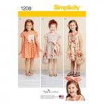 Laste kleidid, kotikesed ja juuksepael, suurused: A (3-4-5-6-7-8), Simplicity Pattern #1208