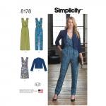 Naiste kombinesoon kahe säärepikkusega, kleit ja jakk, Simplicity Pattern #8178
