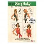 Naiste vintage Jiffy-trikoo hõlmik topp ja lehviga topp, Simplicity Pattern #5555