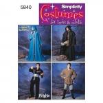 Naiste, meeste ja teismeliste kostüümid, suurused: A (XS,S,M,L,XL), Simplicity Pattern #5840