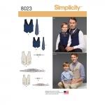 Poiste ja meeste vest, kikilips, Cummerbund ja Ascot, suurused: A (S - L / S - XL), Simplicity Pattern #8023